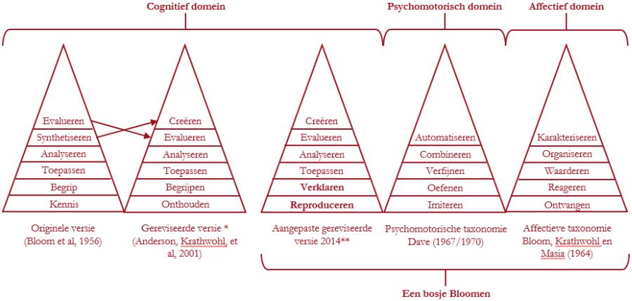Alle taxonomieen van Bloom naast elkaar